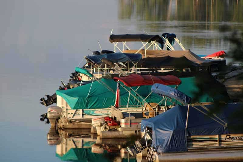 line of docked boats