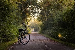 Bike on paved trail
