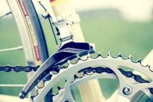 Close up of bike gears