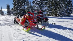 Two snowmobiles in snow