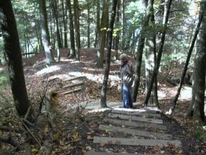 Hiker descending stairs in forest