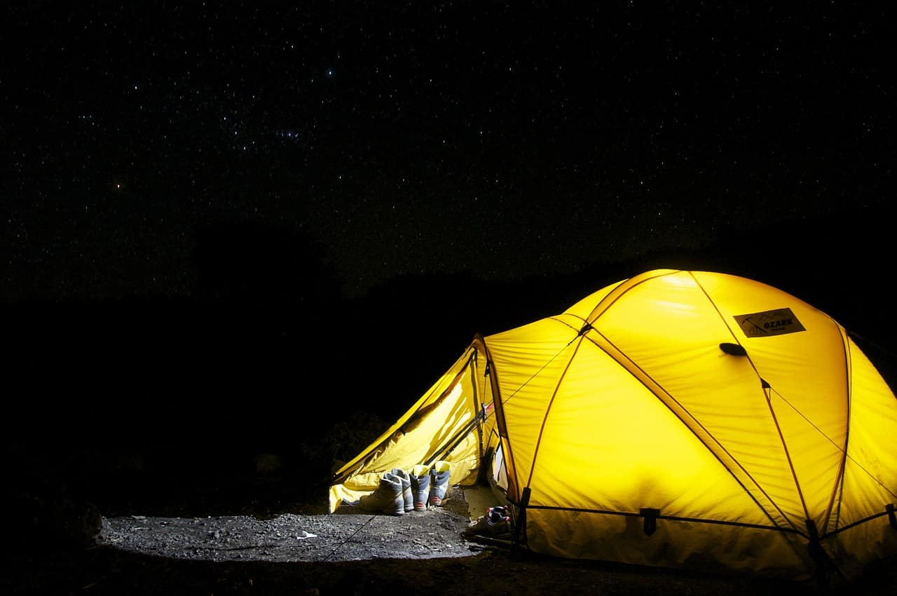Campgrounds in Newaygo County - Yellow Tent at Night