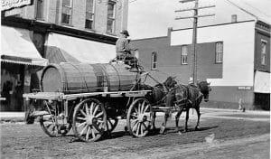 Horses pulling wagon historic photo