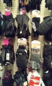Ski gloves on rack