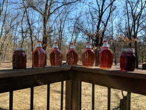 Finished bottles of maple syrup