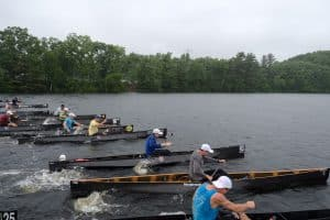 Power Paddle rowers in canoes rowing