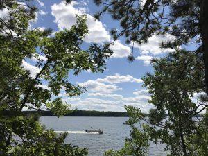 poontoon boat on lake