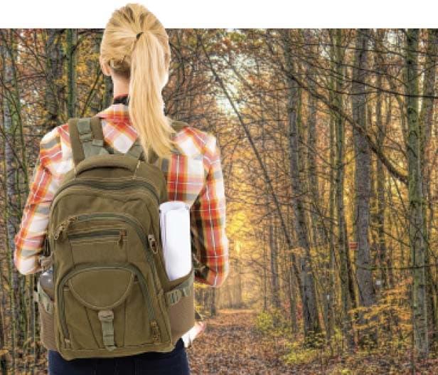 Girl hiking on trail