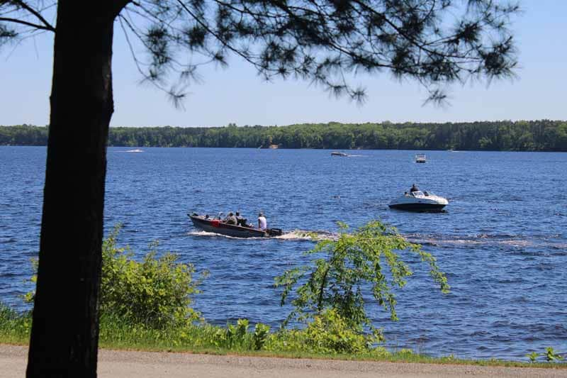 Boats on lake in summer