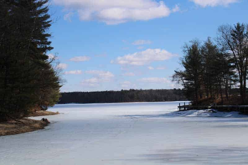 lake frozen in winter