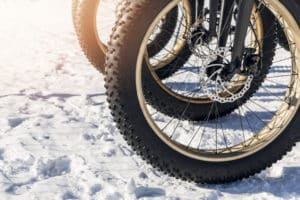 close up of fatbike tire in the snow