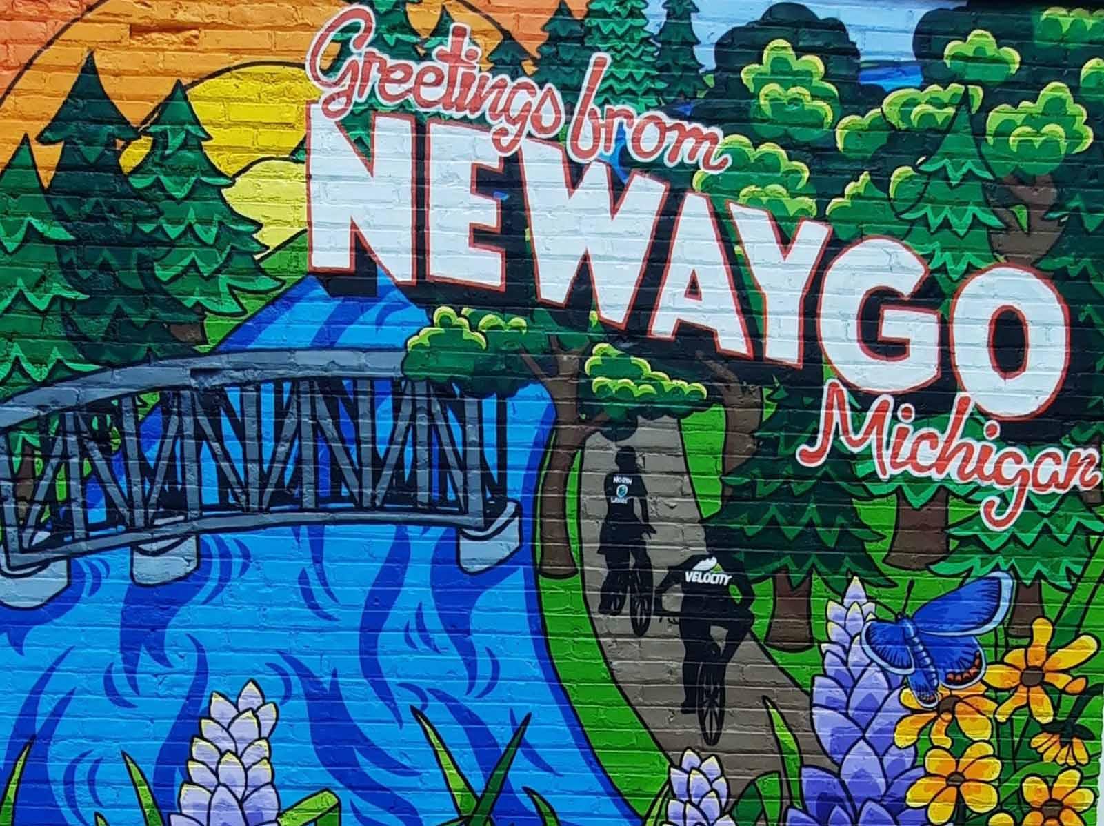 Greetings from Newaygo mural