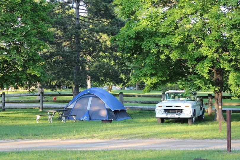 Tent and truck at campground